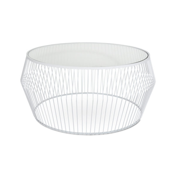 Coffee Tables Tempered Glass Modern Vancouver Cyclone Wire – White