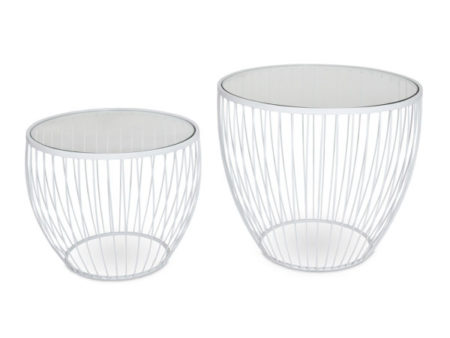 Cyclone Round Glass Side Modern Coffee Tables (Set of 2) – Matte White