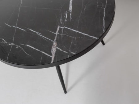 Florence Coffee Table – Black Marble Round Mid Century with Black Base