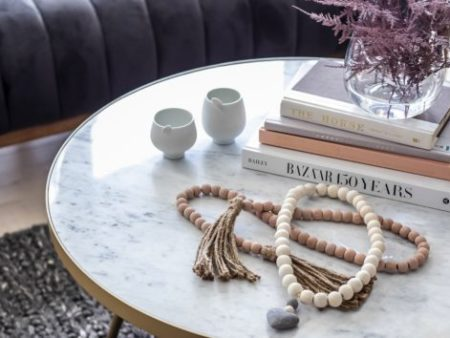 Florence Coffee Table – White Marble Round Mid Century