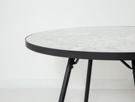 Florence Mid-century Round Dining Table – White Marble with Black Base