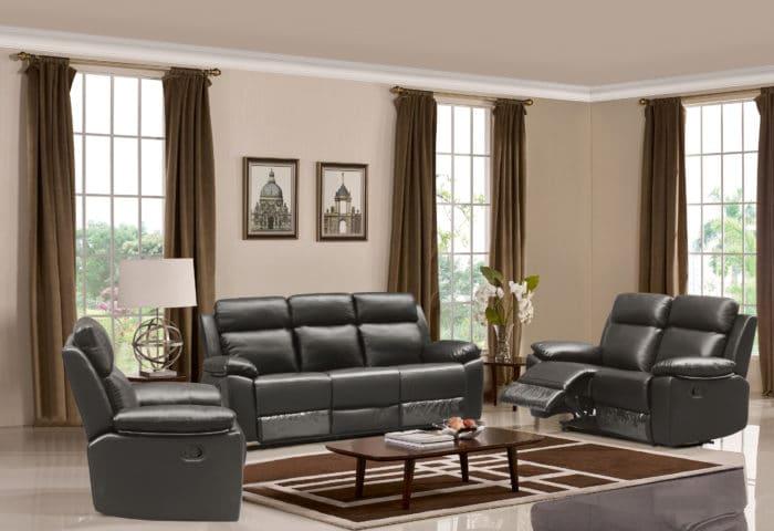 Leo Reclining Sofa – Leather Air Code # G12 Grey