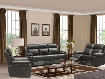 Leo Reclining 3-PC Sofa Set – Leather Air Code # G12 Grey