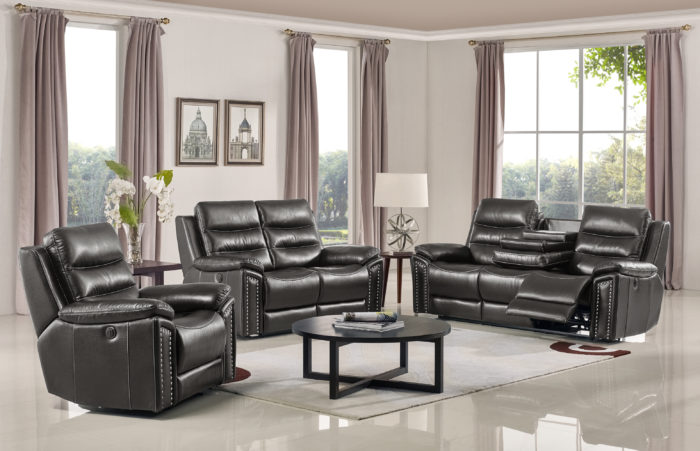 Jetson Reclining 3-PC Sofa Set – Leather Air Code # G12 Grey