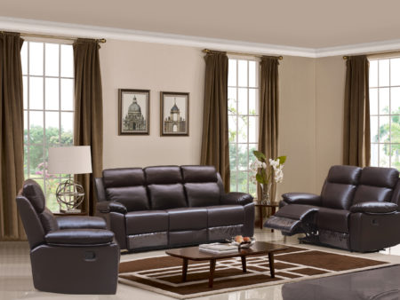 Leo Recliner 3-PC Living Room Sofa Set – Leather Air Code # G03 Brown
