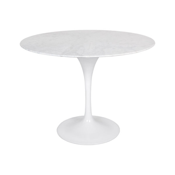 Mid-century Flute Condo Size Round Dining Table with Marble Top