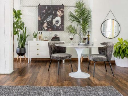 Mid-century Velvet Grey Milo Dining Chair