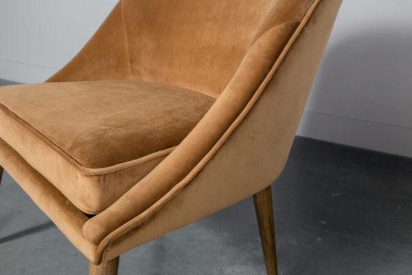 Mid-century Yellow velvet Dining Accent Chair - Cognac