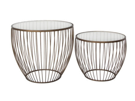Modern Cyclone Glass Accent Coffee Tables (Set of 2) – Gold
