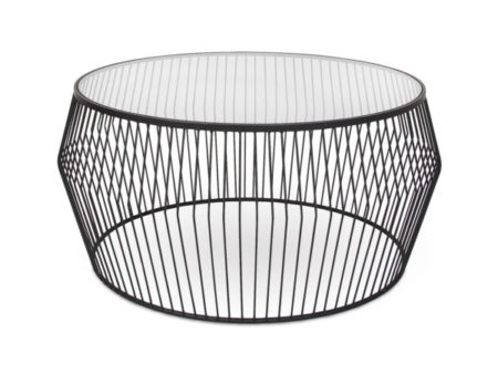 Modern Vancouver Tempered Glass Cyclone Wire Coffee Table – BlackModern Vancouver Tempered Glass Cyclone Wire Coffee Table – Black