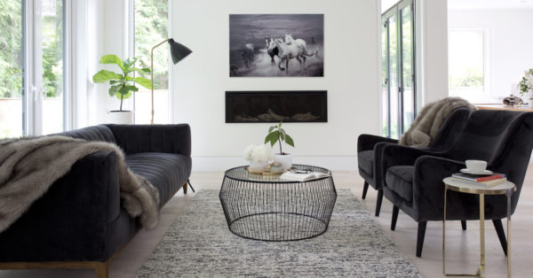 Modern Vancouver Tempered Glass Cyclone Wire Coffee Table – Black
