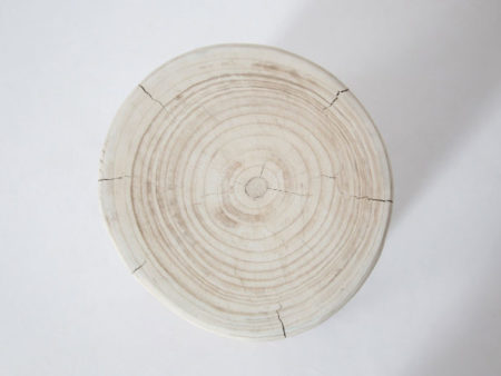 Salish Wide 16″ Round wood Stump – White
