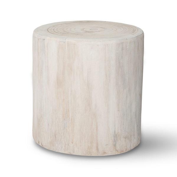 Salish Wide 16″ Round wood Stump – White