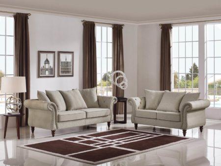Tessa Designer 5-PC Living Room Sofa Set – Fabric Code # K06 Sand