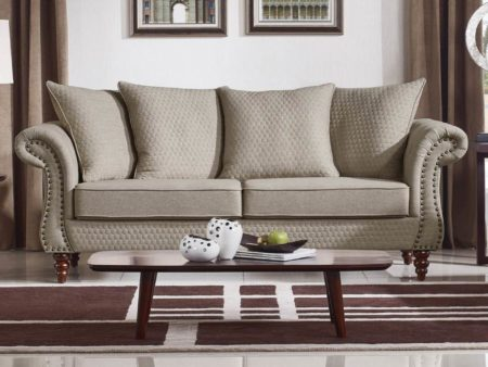 Tessa Designer Three Seater Sofa – Fabric Code # K06 Sand