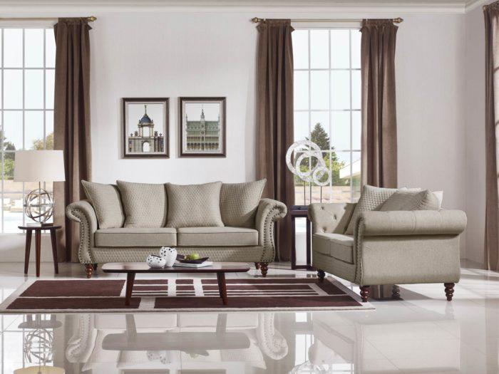 Tessa Designer Three Seater Sofa – Fabric Code # K06 Sand