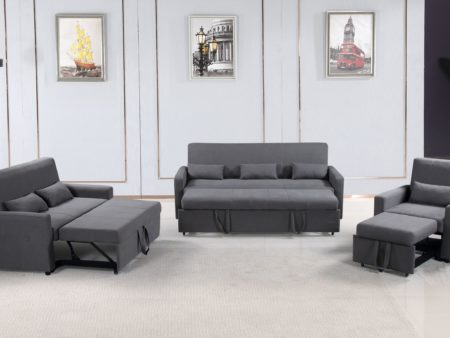 Transformer 3-PC convertible sofa bed Set – Charcoal Grey