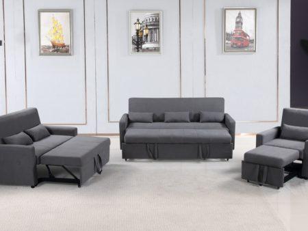 Transformer 3-PC convertible sofa bed Set – Charcoal Grey