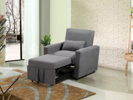 Transformer Convertible Fabric Chair Bed – Charcoal Grey