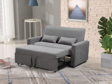 Transformer Convertible Fabric Loveseat Bed – Charcoal Grey