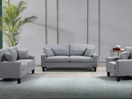 Zara 3-PC Living Room Fabric Sofa Set – Grey