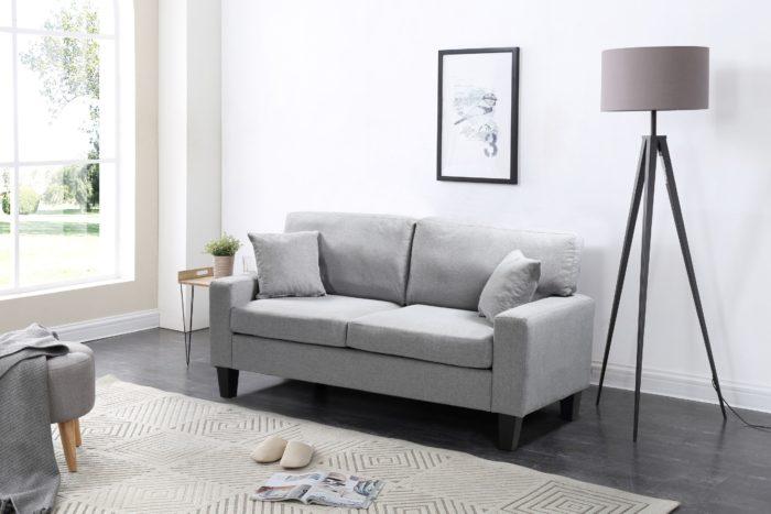 Zara 3-PC Living Room Fabric Sofa Set – Grey