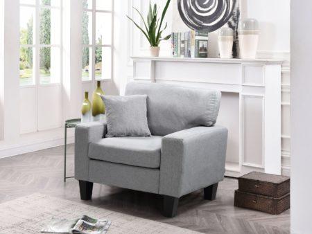 Zara Fabric Love Seat Chair – Grey