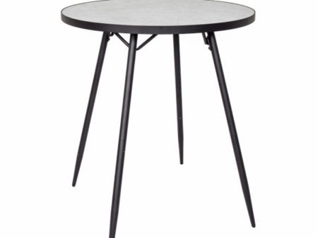 Florence mid-century round dining table – White Marble – Black Base