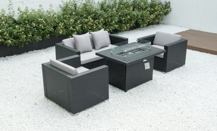 4 piece conversation set with fire table and light grey cushions
