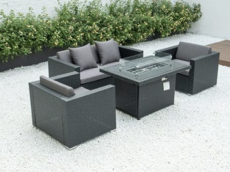 4 piece conversation set with fire table and dark grey cushions