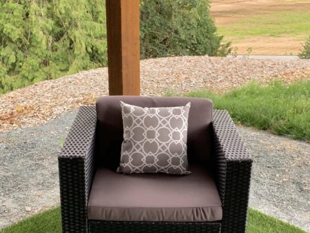Club chair with dark grey cushion