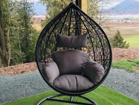 Teardrop swing with dark grey cushion