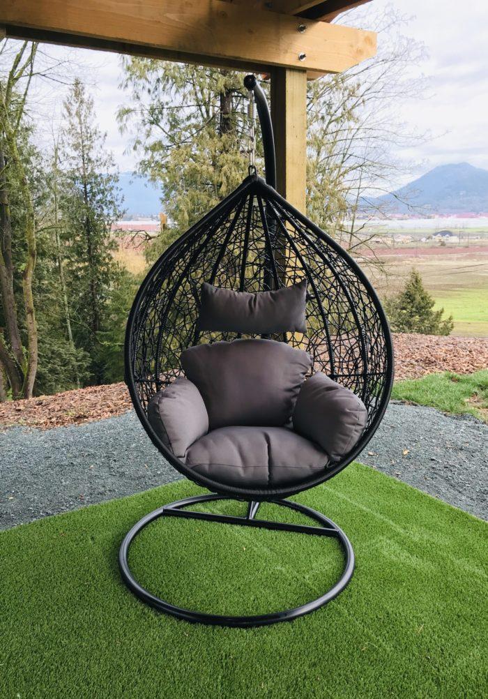 Teardrop swing with dark grey cushion