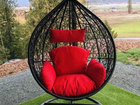 Teardrop swing with red cushion
