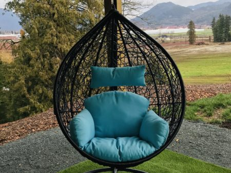 Teardrop swing with blue cushion