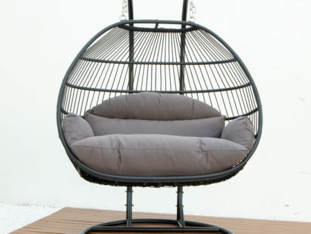 Double folding swing with dark grey cushion
