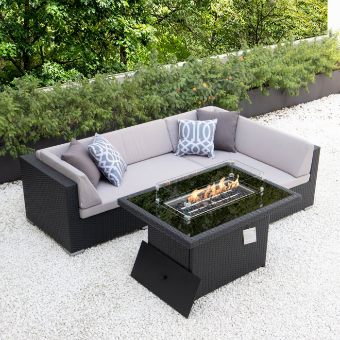 Small L with fire table and light grey cushions