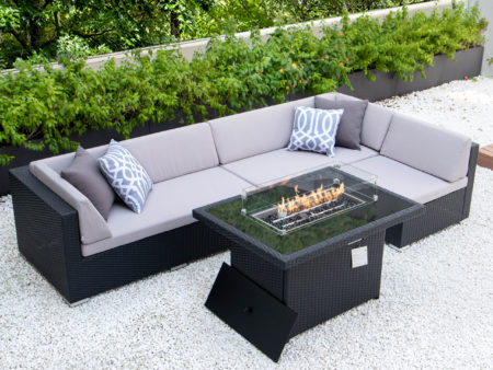 Classic L with fire table and light grey cushions