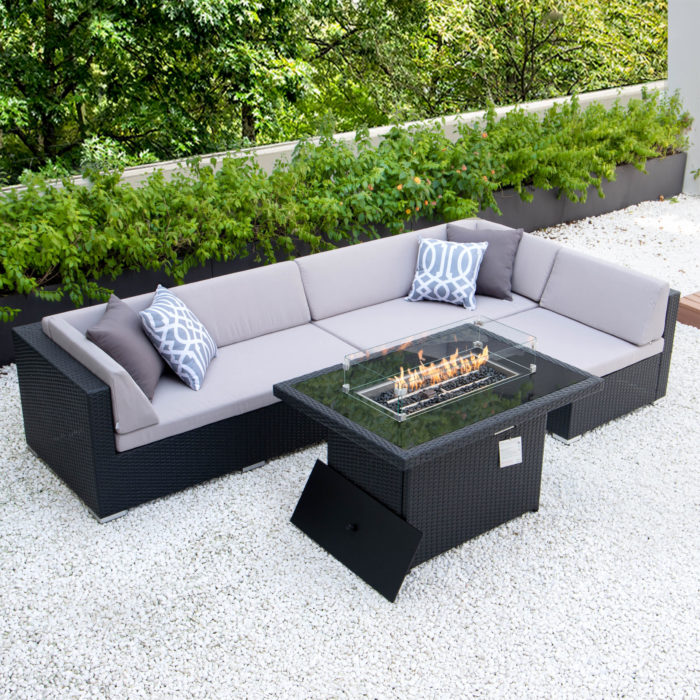 Giant L with fire table and light grey cushions