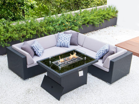 Symmetrical L with fire table and light grey cushions