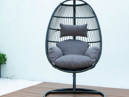Single folding swing with dark grey cushion