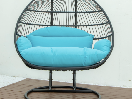Double folding swing with blue cushion