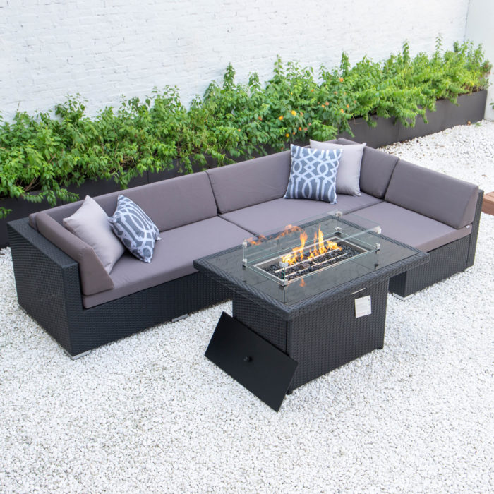 Classic L with wicker fire table in dark grey cushions