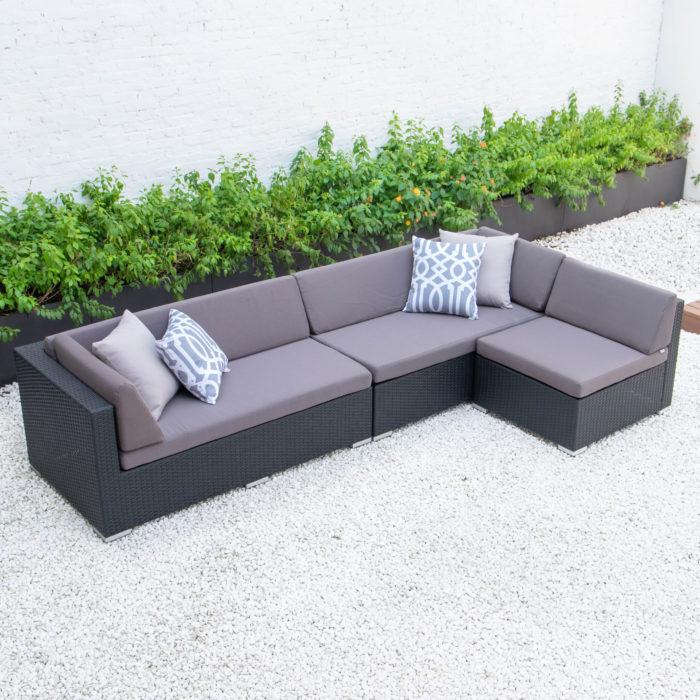 Classic L sectional in dark grey cushions