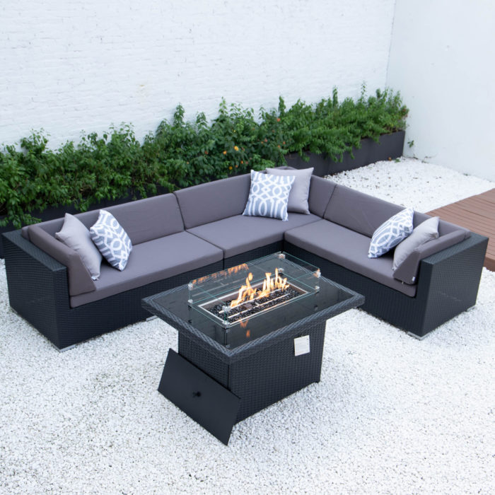 Giant L with wicker fire table in dark grey cushions