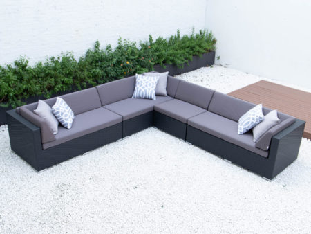 Giant symmetrical L sectional in dark grey cushions