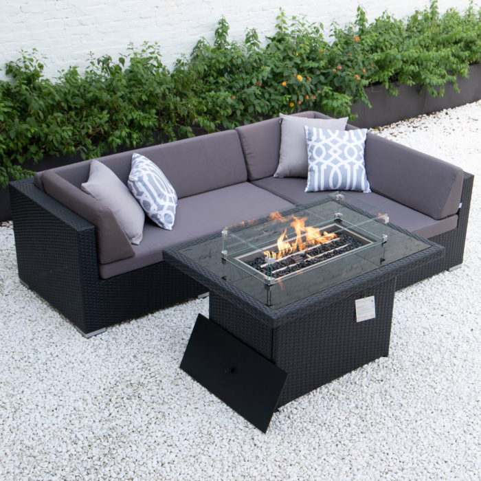 Small L with wicker fire table in dark grey cushions