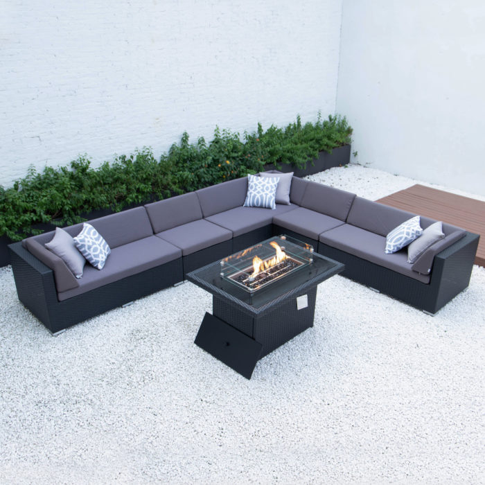 wicker fire table in dark grey cushions