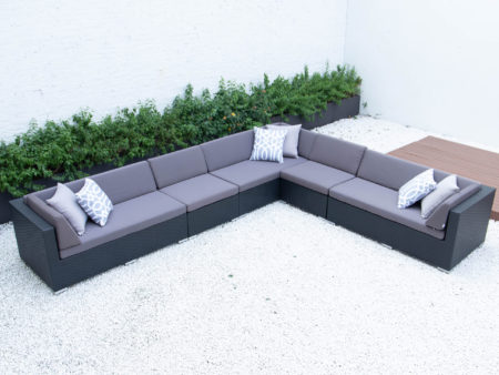 Super giant L sectional with dark grey cushions
