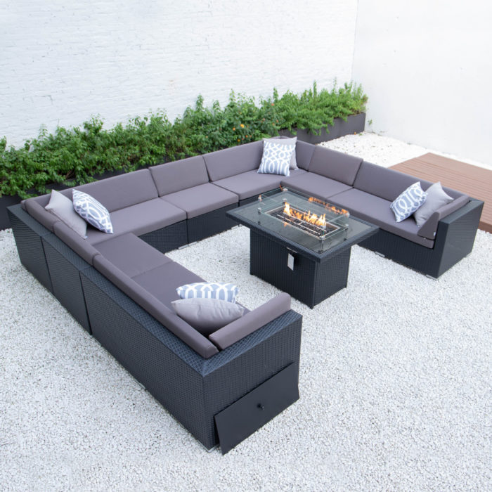Giant u shaped with wicker fire table in dark grey cushions